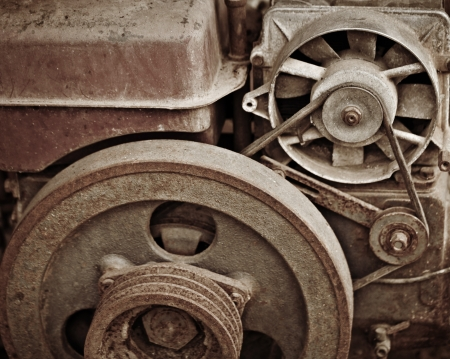 flywheel: Old rusty dilapidated machinery close up