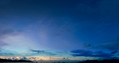 night scenery: The sky above the harbor the tropical sea - panorama Stock Photo