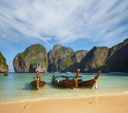 Thai traditional boats in the bay. Thailand, Phi Phi Island