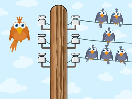 isolator: Sitting birds symbolize wireless technology - vector illustration