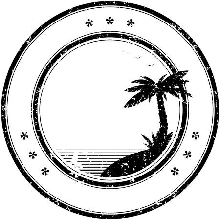 timbre voyage: Tropical tampon en caoutchouc grunge avec la paume - illustration vectorielle simple
