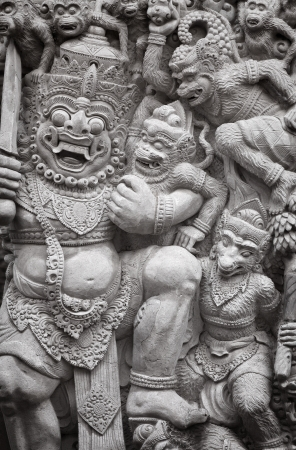stone carving: The bas-relief with the ancient gods. Indonesia, Bali.
