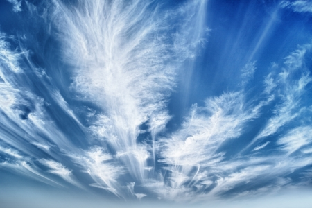 cirrus: Daytime sky with stratus clouds wide-angle