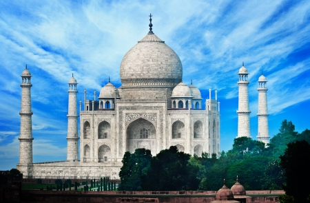 India, Agra. The famous marble mausoleum - Taj Mahal.