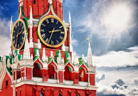 Spasskaya tower with kremlin chimes close up. Russia, Red square, Moscow Kremlin.