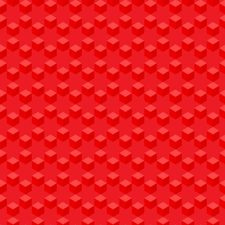 Simple geometric red pattern - abstract repeating cubes Vector