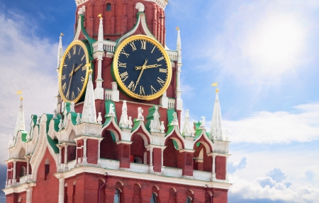 Russia, Moscow Kremlin - famous Spasskaya tower with kremlin chimes close up photo