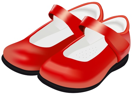 leather shoe: Womans red shoes for child on white background  Illustration