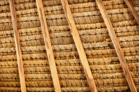 thatched: Structure of traditional natural thatched roof on the inside