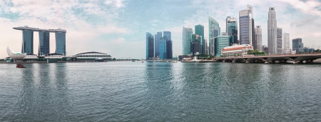 Singapore skyline - modern skyscrapers photographed from river