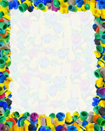 Template for baby comic certificate - color toy nuts and bolts photo