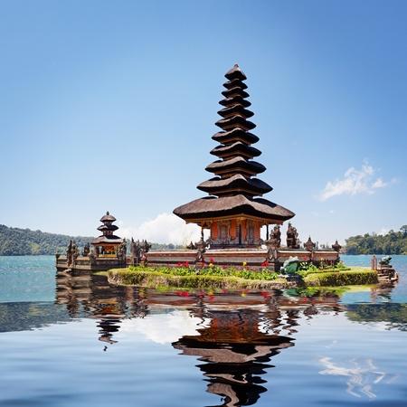 bratan: Collage with reflection of Pura Ulun Danu Bratan, Bali, Indonesia Stock Photo