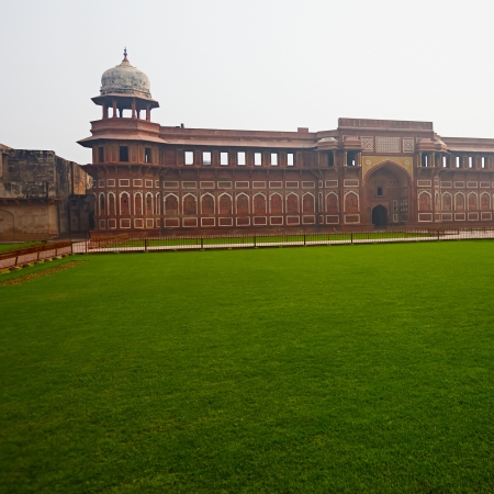 grass plot: Green grass plot surrounded by wall and tower, Red Agra ford, India Editorial