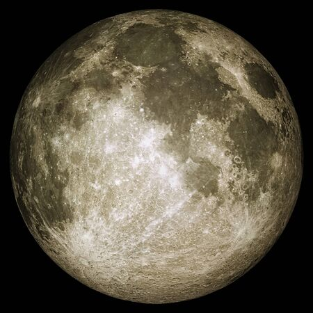 Closeup of full moon with details of the lunar surface