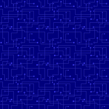 blue seamless pattern - futuristic electronic circuit board.  Vector