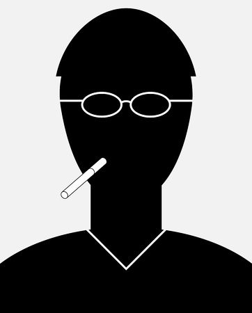 smoker: Abstract vector smoker portrait - a simple silhouette of a man with a cigarette Illustration