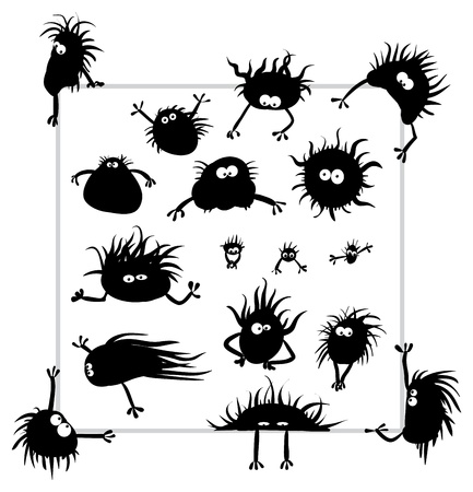 infusorian: Group of funny creatures similar to microbes  Illustration