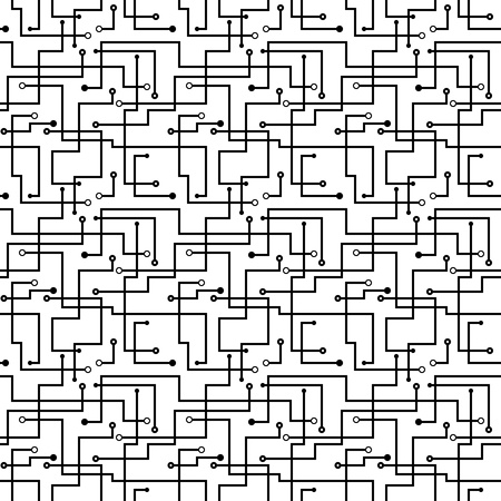 seamless pattern - circuit board scheme. Black and white abstract background. Vector