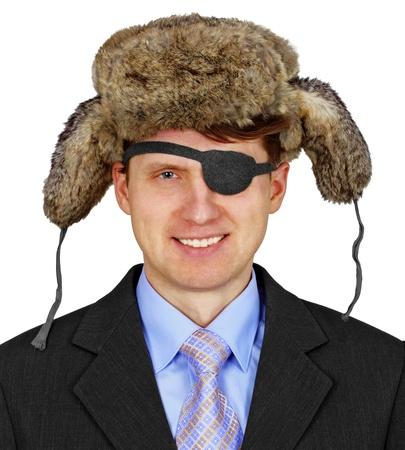 Russian pirate in business suit and fur cap with ear flaps isolated on white background photo