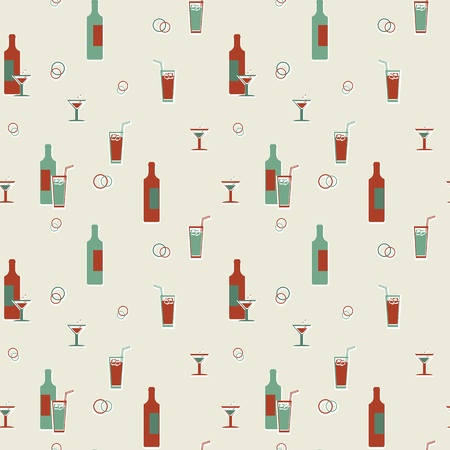 Abstract vector seamless vintage pattern - alcoholic beverages Stock Vector - 18138808