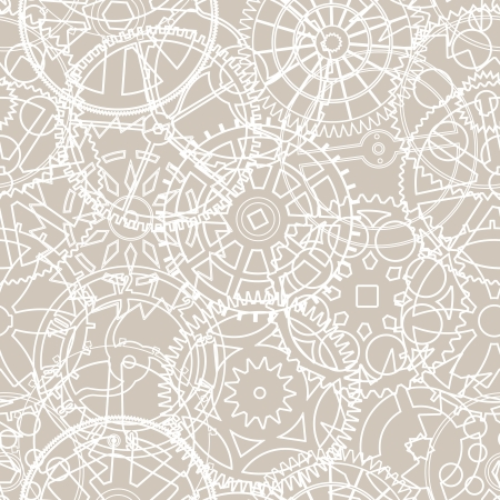 chaotical: Seamless vector pattern of silhouettes of gears in retro colors Illustration