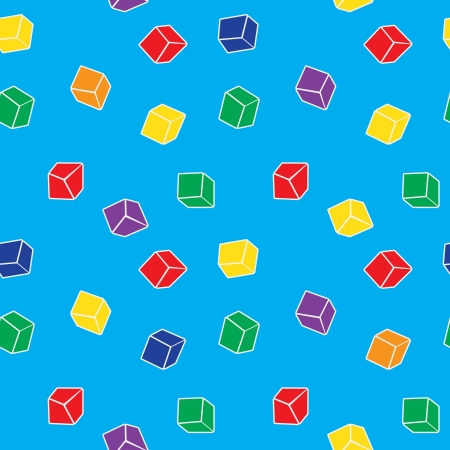 Vector simple abstract seamless pattern of colorful cubes Vector