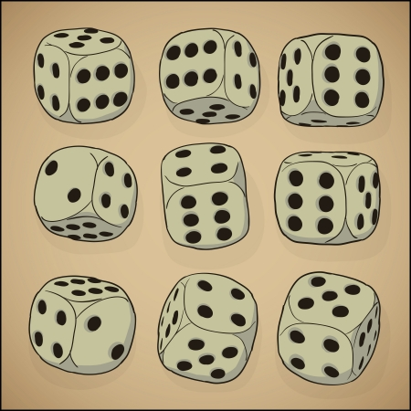 pastel shades: A set of vector cubes for the game of dice - vintage style Illustration