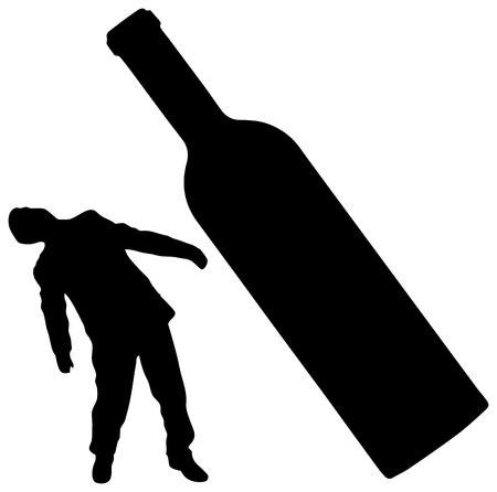 alcoholismo: Siluetas del hombre y una botella de vino - el concepto de embriaguez