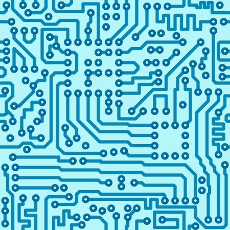 chaotical: Electronic technology digital circuit blue board - seamless vector pattern