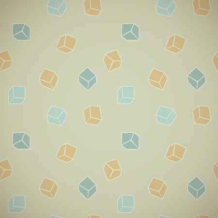 chaotical: Vector abstract background of colored cubes in vintage style