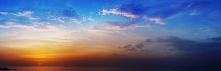 The Beautiful panoramic photo - sunset over the sea photo