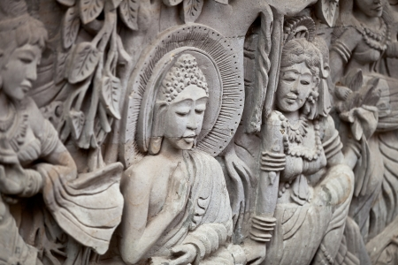 stone carving: Bas-relief depicting the story of Buddhas life Stock Photo