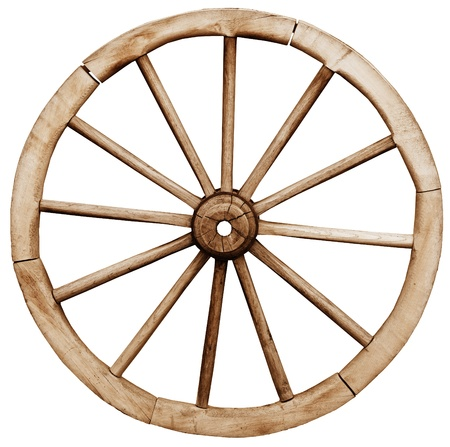 Big vintage rustic telega wheel isolated on white background Stock Photo