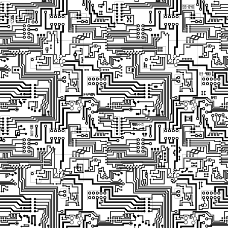 electronic circuit: Circuit board vector computer seamless technological background - electronic black and white pattern