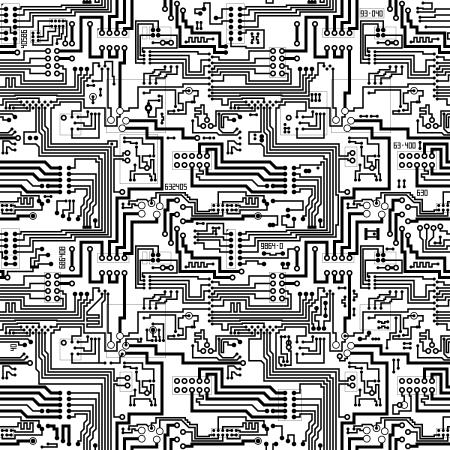 circuito electrico: Circuito de ordenador de a bordo vector seamless background tecnológico - patrón electrónico en blanco y negro Vectores