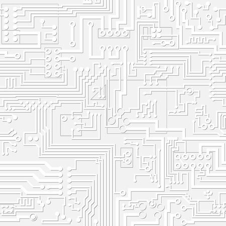 technological: Technology vector light gray electronic circuit board seamless background. Illustration