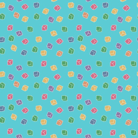 chaotical: Vector funny abstract seamless pattern - colorful cubes Illustration