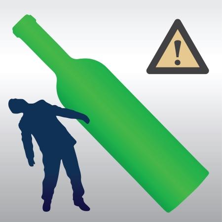 detrimental: The detrimental effect of alcohol to the drinker organism Illustration