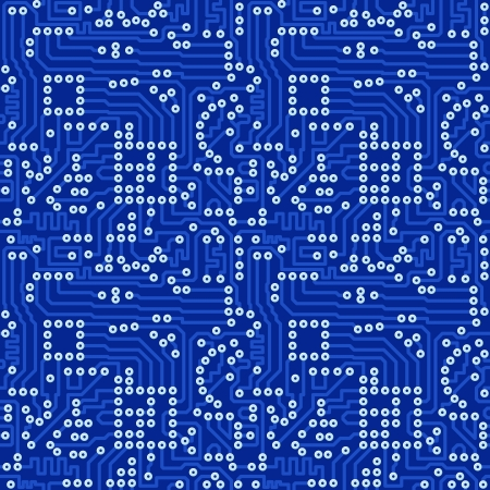 chaotical: Blue electronic circuit board with silver solder - vector seamless pattern