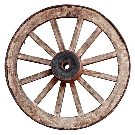 carreta madera: Antigua rueda de carro de madera aislada en el fondo blanco Foto de archivo