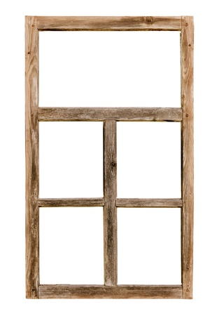 Vintage simple window wooden frame isolated on white background photo