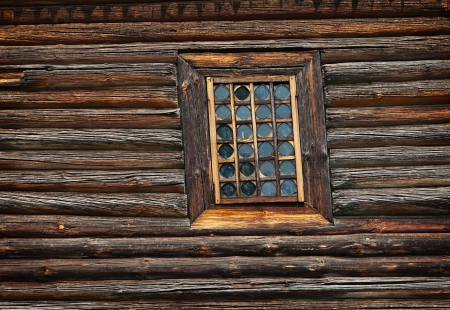 Window old wooden church built of larch wood Stock Photo - 19743793
