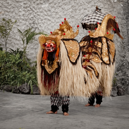The traditional costume for a theater performance - Barong. Indonesia, Bali Stock Photo