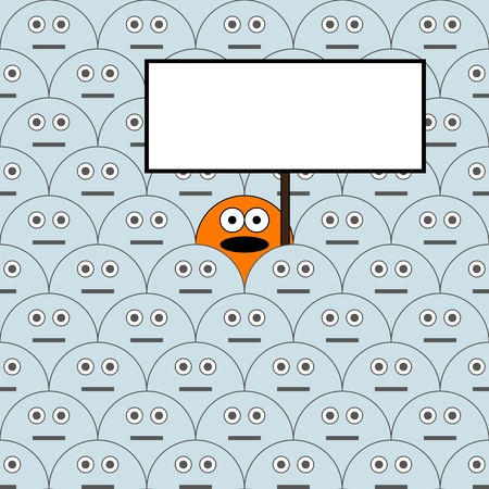 illustration - one man in the crowd with the opinion Stock Vector - 19975385
