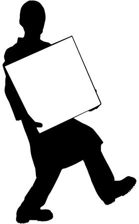 carries: silhouette - nero uomo porta una scatola bianca Vettoriali