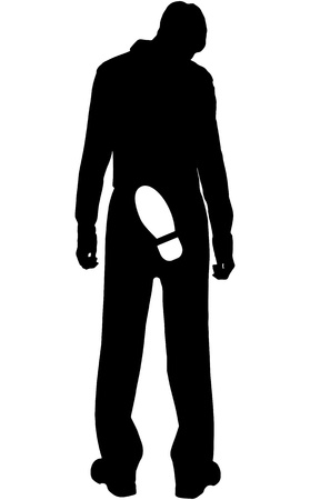 kick out: silhouette - Dismissed from work young people on white background