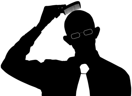 hairbrush: silhouette on white background - Bald man does not need a comb Illustration