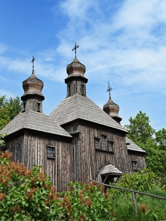 Big old wooden orthodox church  Ukraine, Pirogovo photo