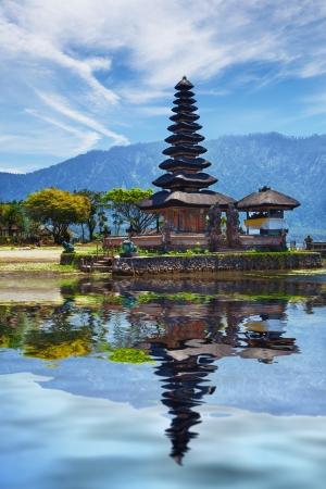 ulun: Hindu temple complex on Bratan lake Pura Ulun Danu Bratan, Bali, Indonesia - Collage with reflection