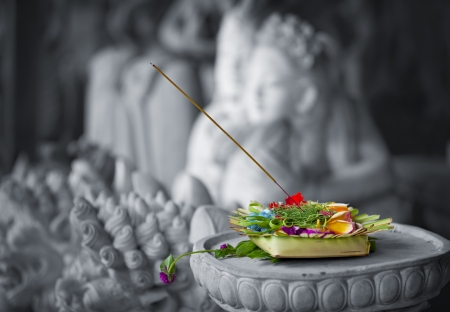 Donation to the gods close up. Indonesia, Bali photo